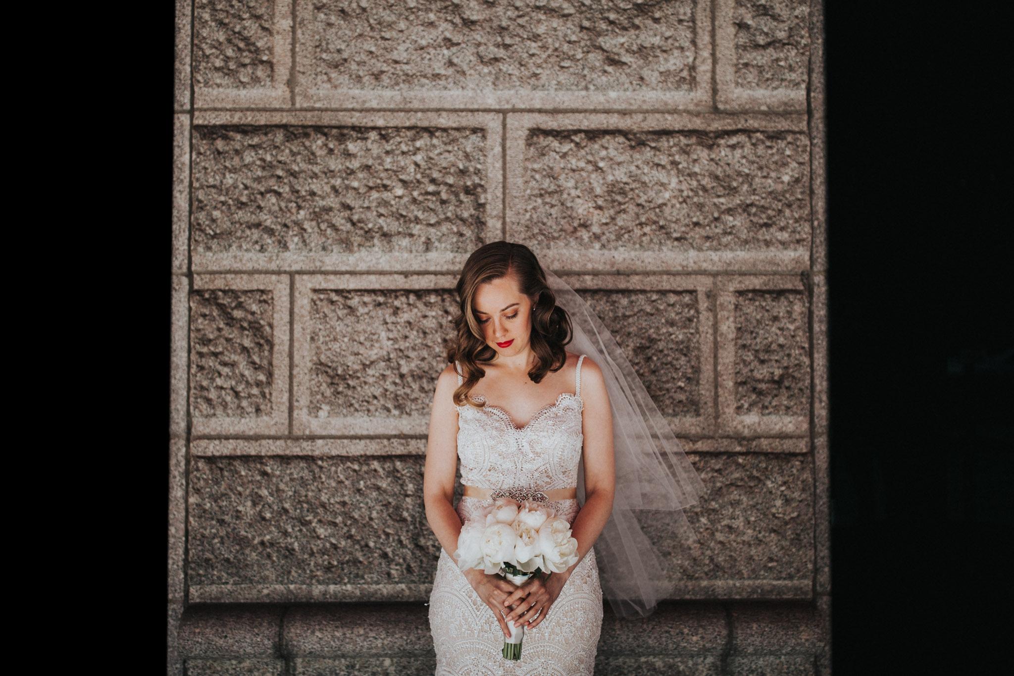bride waiting before boston elopement