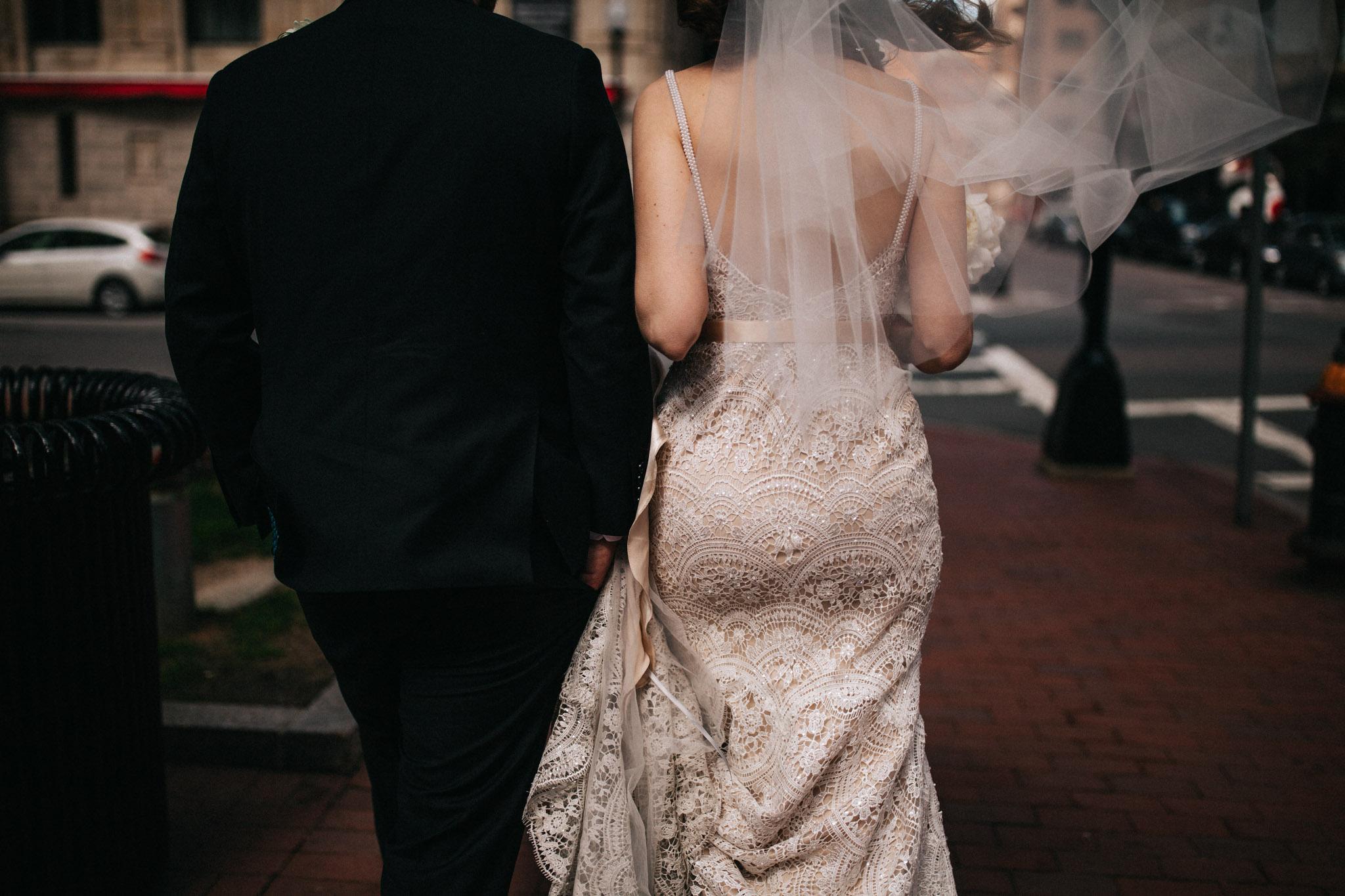 lace dress in boston elopement