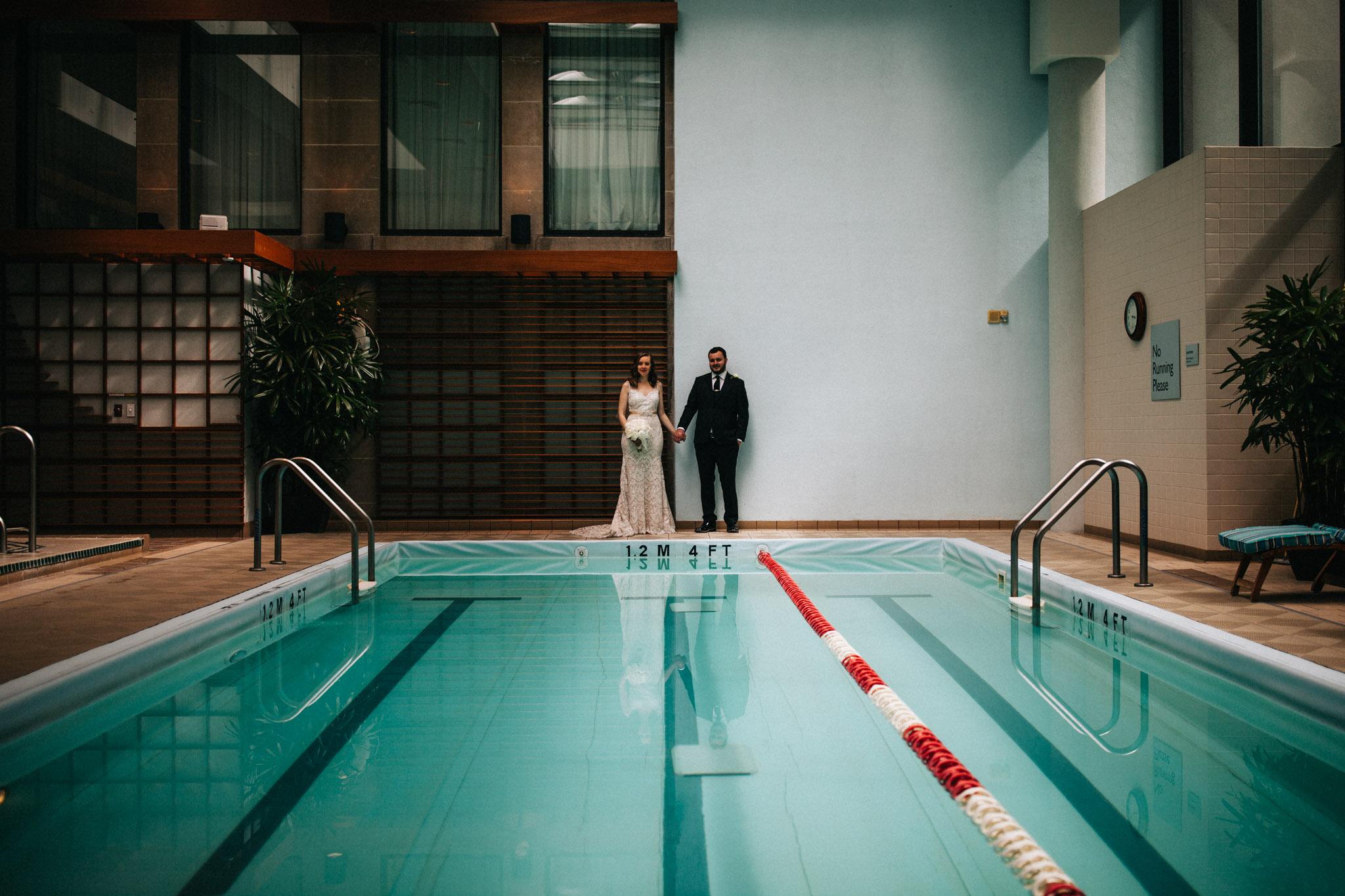 Pool at the Langham Boston elopement