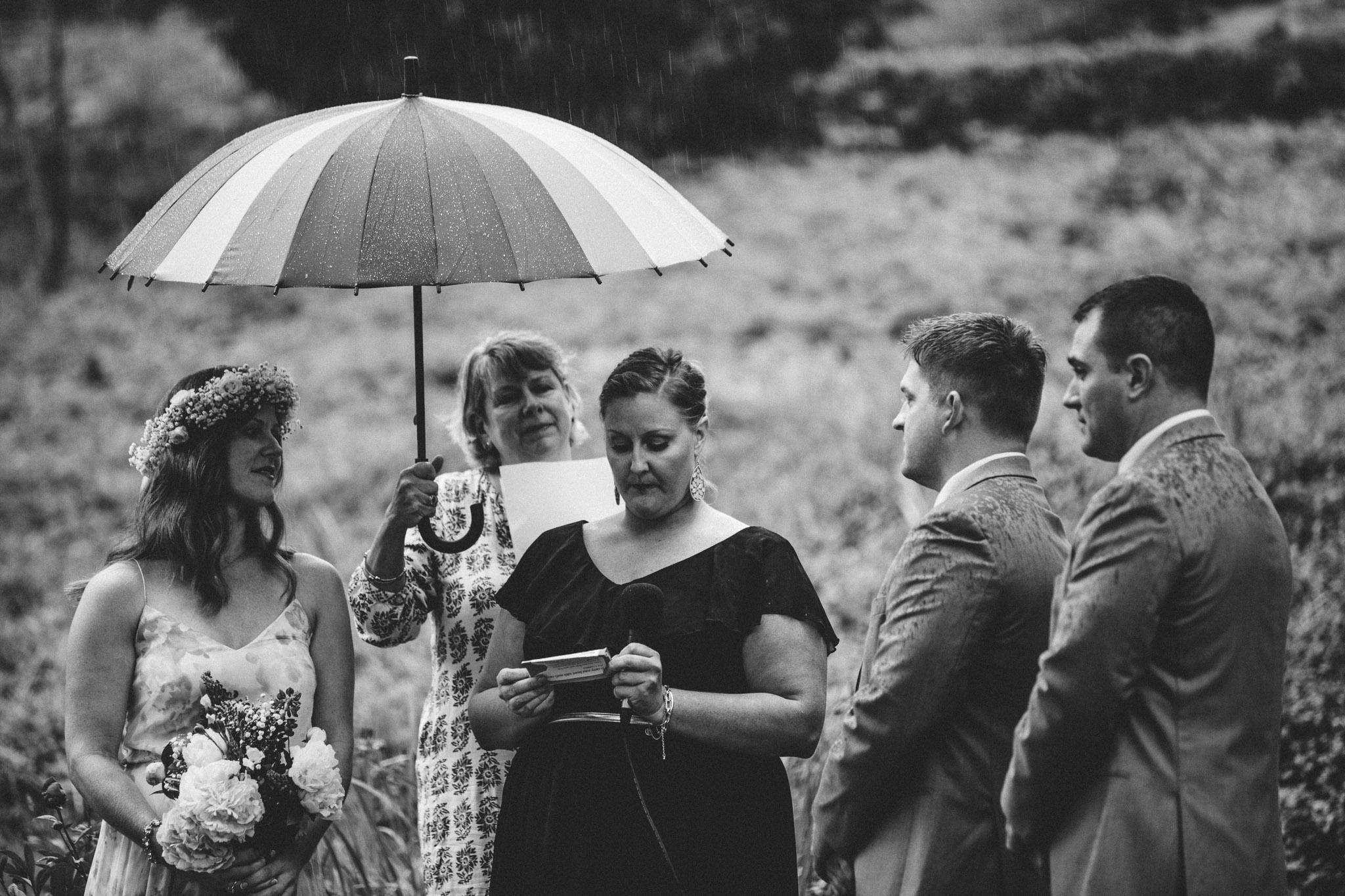 ceremony in the rain