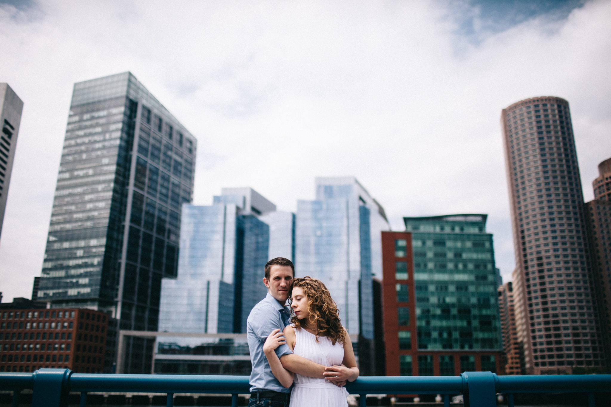 couple in front of boston buildings