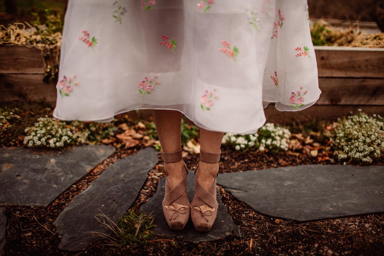 doir wedding shoes outside