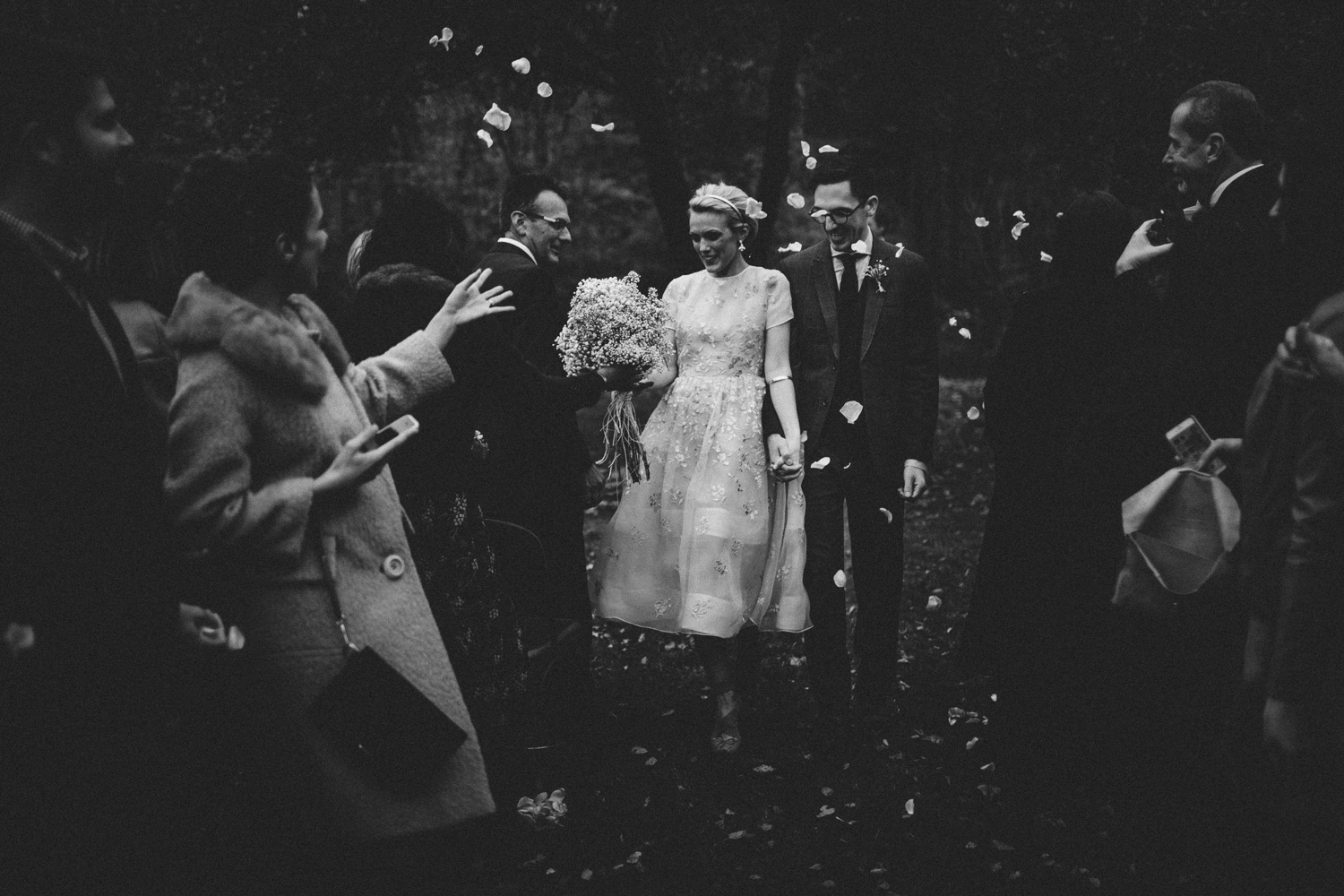 rose petals thrown after ceremony