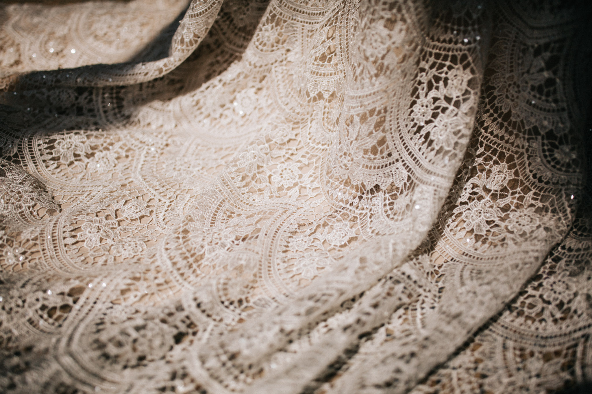 lace dress at boston elopement