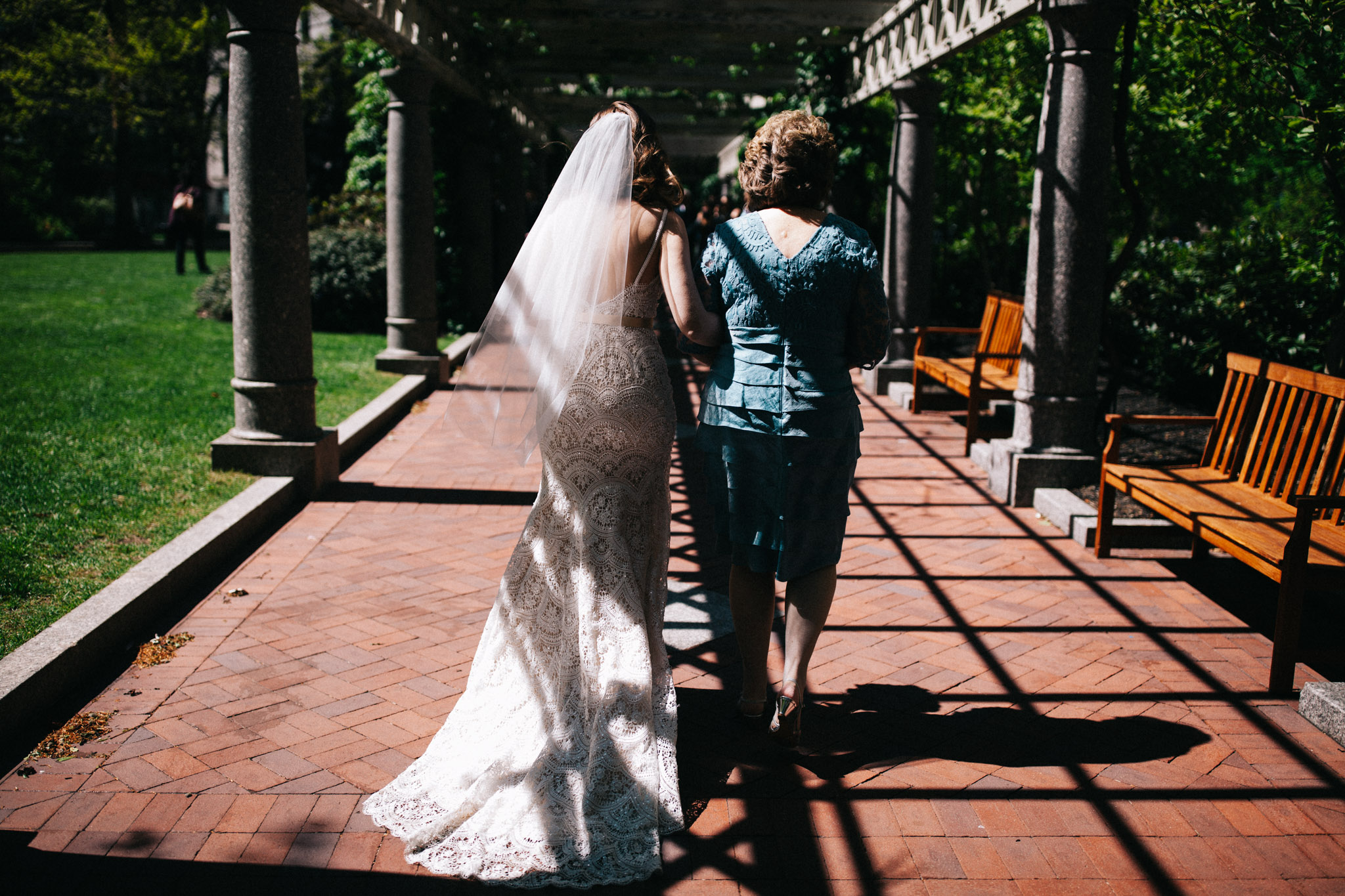 bride walking down the isle at boston elopement