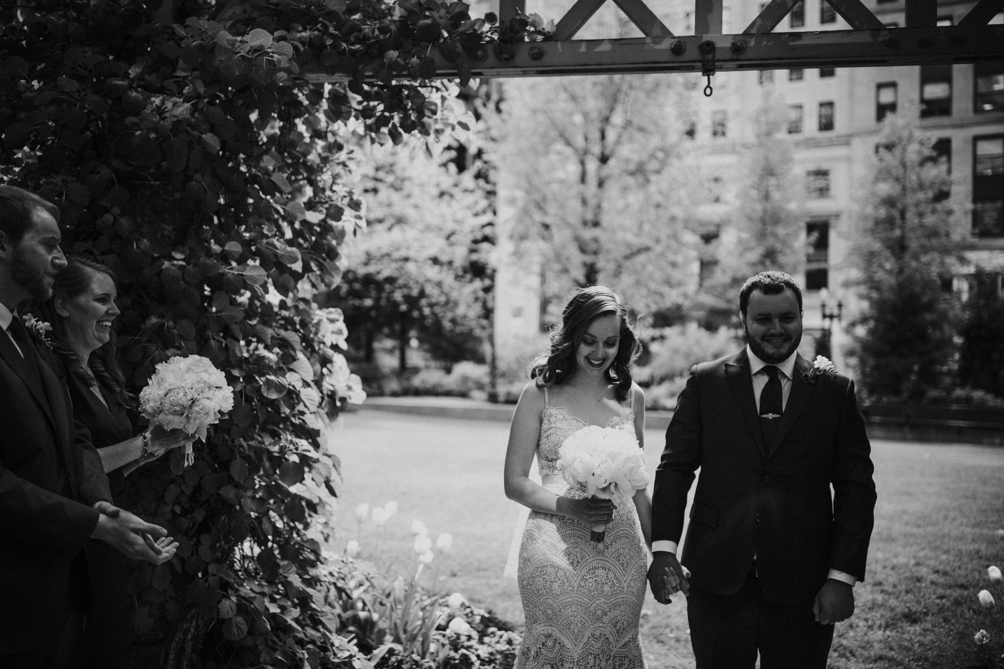 black and white boston elopement photo