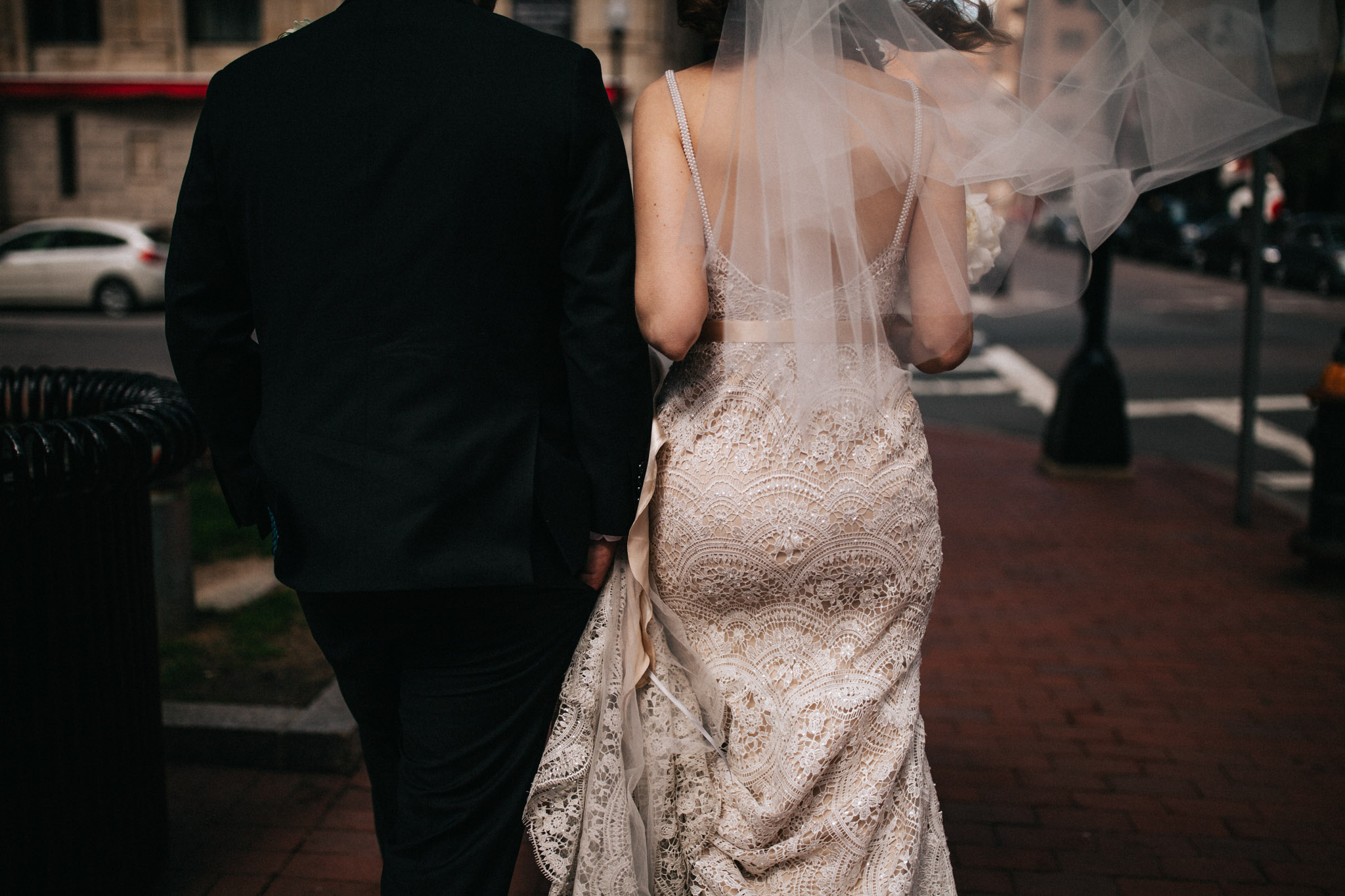 lace dress in boston elopement