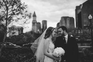 boston skyline at boston elopement