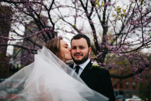 purple flowers at boston elopement