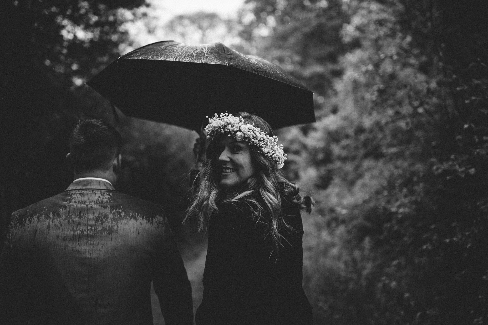 a very rainy wedding day