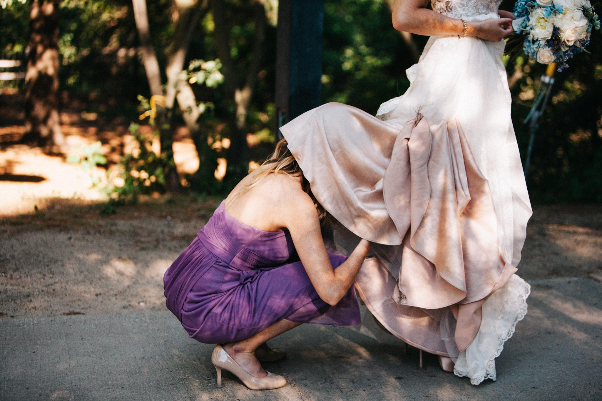 bridesmaid bustling bride