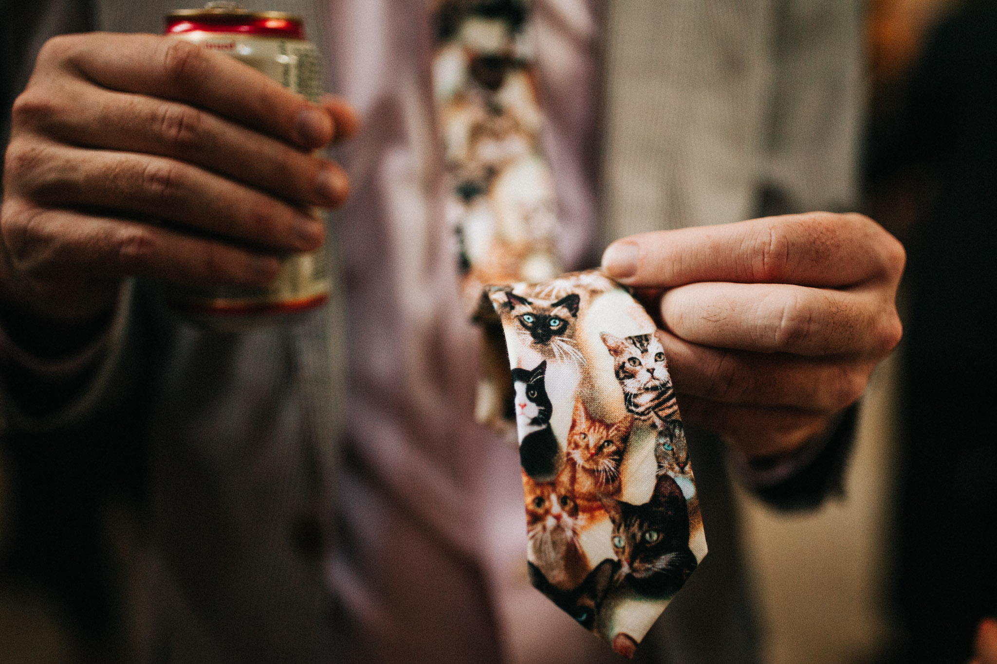 cat tie at wedding
