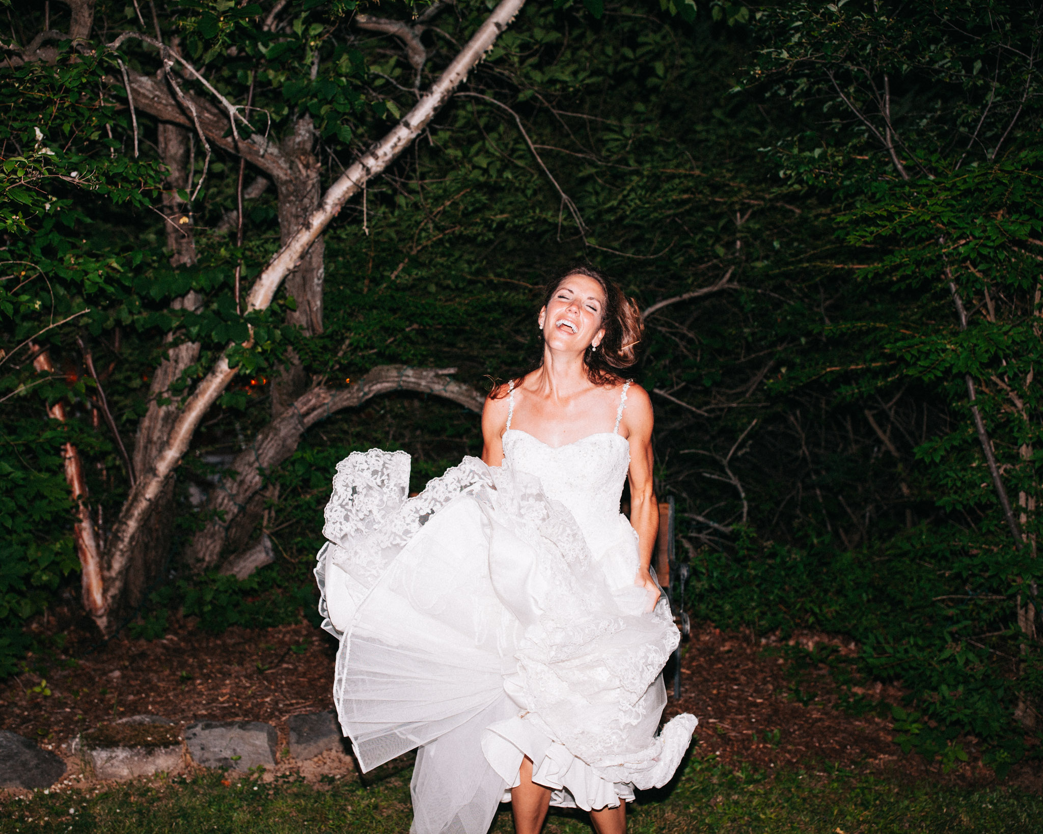 bride having fun photobooth