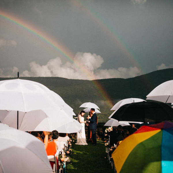 double rainbow wedding at hildene